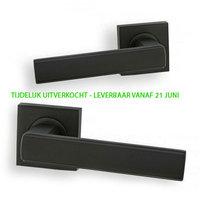 Modena Deurklink - vierkant rozet - mat zwart - complete set