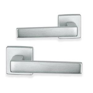 Acapulco deurklink - vierkant - geborsteld aluminium - complete set