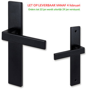 Eliot deurklink - op schild - mat zwart - complete set