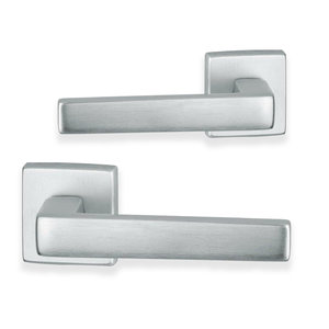 Acapulco deurklink - vierkant - geborsteld aluminium - complete set 1